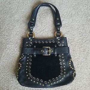 Isabella Fiore Black Leather/Fur Handbag